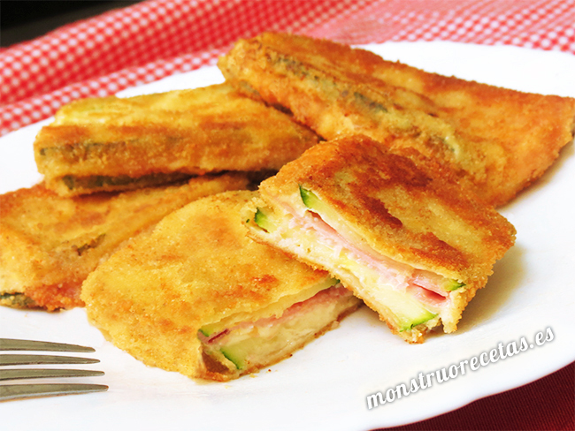 San Jacobos de calabacin, jamon y queso