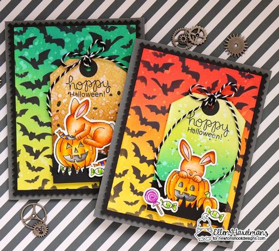 Bunny Halloween Cards by Ellen Haxelmans | Hoppy Halloween Stamp Set and Flying Bats Stencil by Newton's Nook Designs #newtonsnook #handmade #halloween
