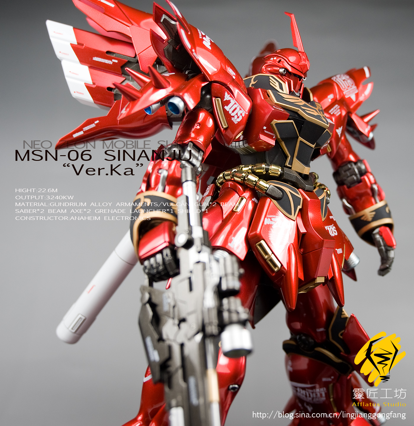 GUNDAM GUY: MG 1/100 MSN-06 Sinanju Ver. Ka - Painted Build