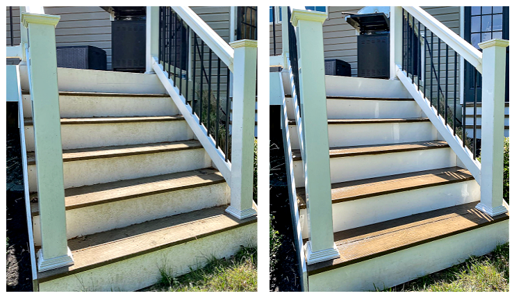 Before and after power washed deck steps