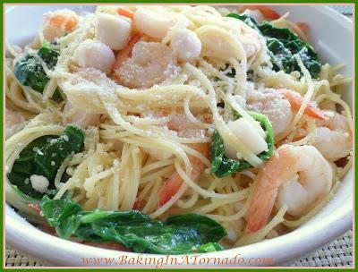 Seafood Angel Hair Florentine | recipe developed by www.BakingInATornado.com | #recipe #dinner