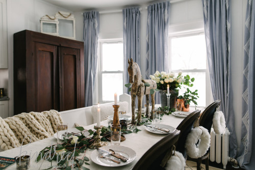Dining room with romantic Farmhouse Christmas holiday decorating shabby chic