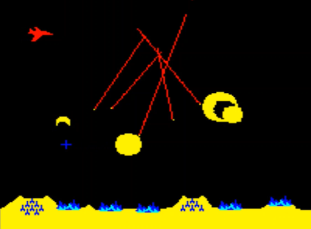 Sample screenshot from level 2 of Missile Command 1980, including a bomber plane and missiles.