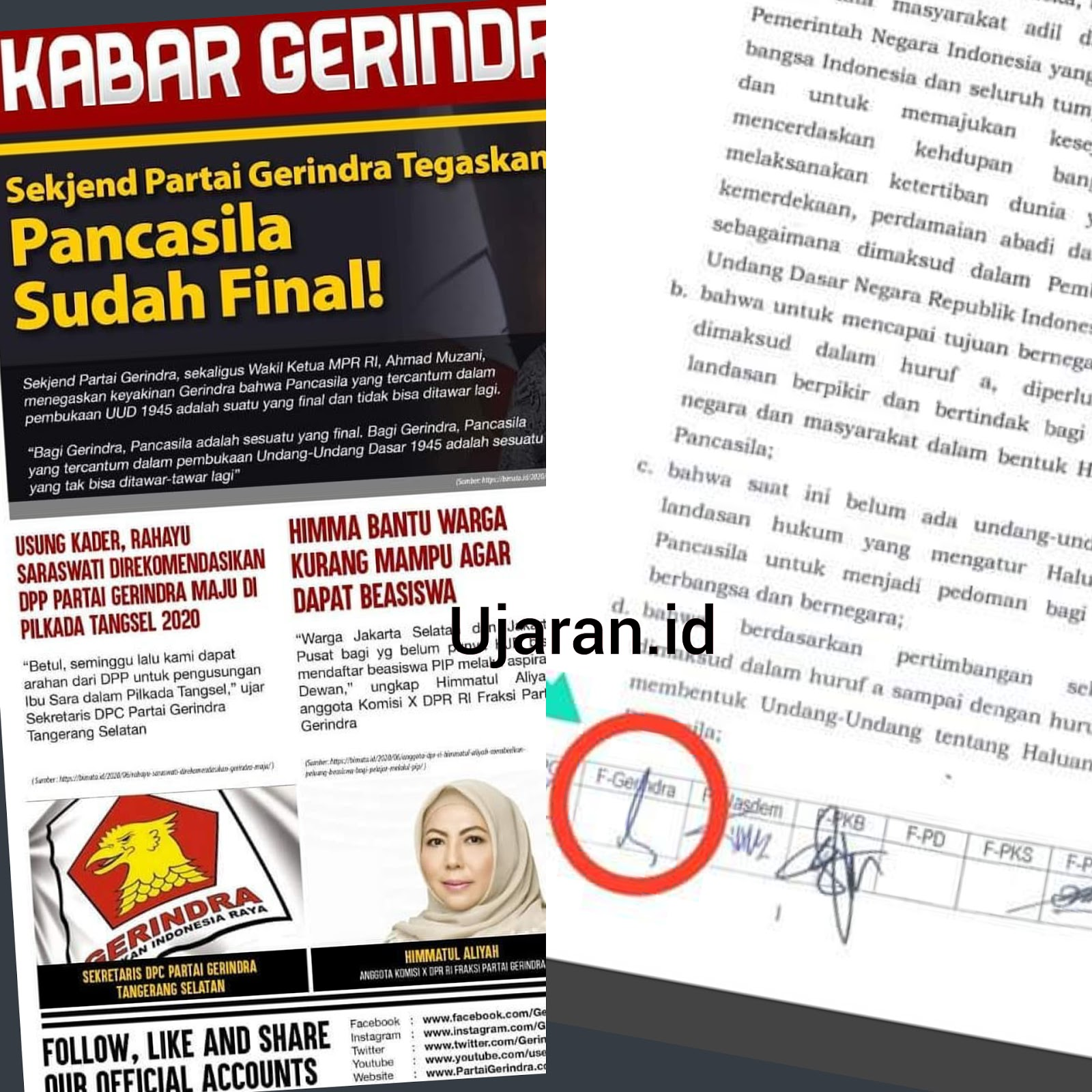 "Di Medsos Teriak ""Pancasila Final"", di Senayan Tanda Tangan"