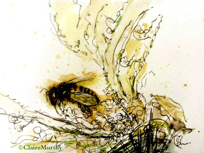 Summer Bee and Flower : Watercolour and Ink