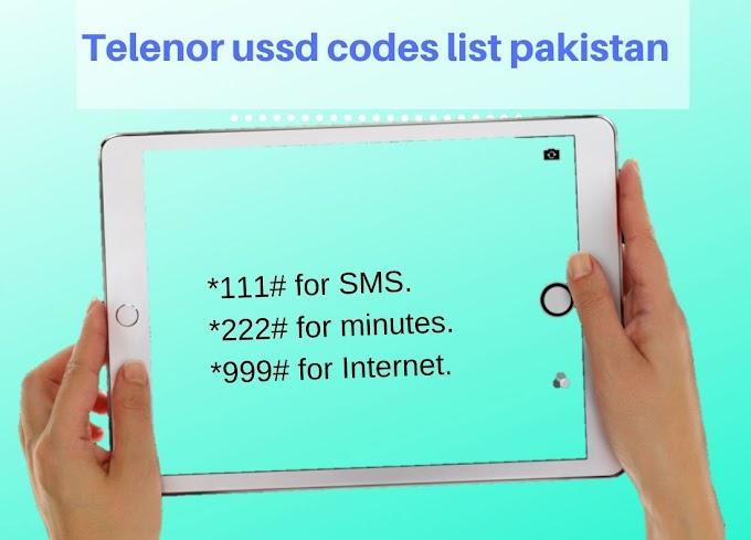Telenor ussd codes list Pakistan