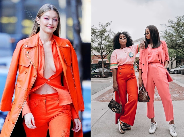 Living Coral nas composições de moda 2019