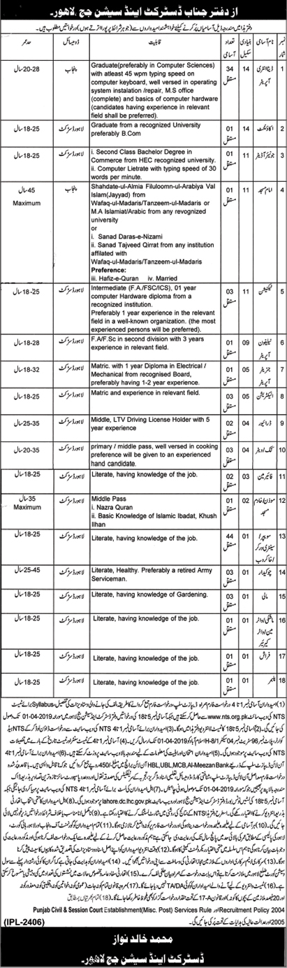 District And Session Judge Lahore Jobs 2019 by NTS Download NTS Application