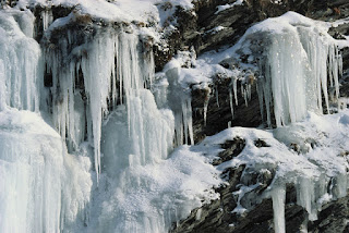 Norway, frozen waterfall