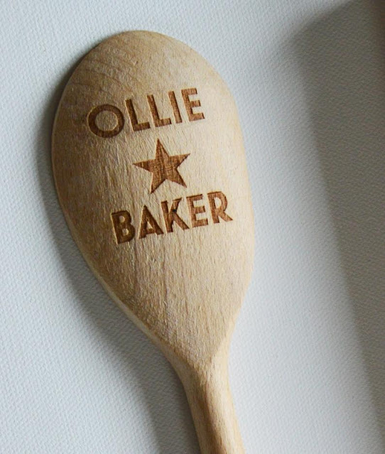 Wooden spoon laser engraved on the back with OLLIE small five pointed star BAKER