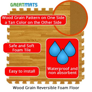 Greatmats wood grain reversible foam floor infographic