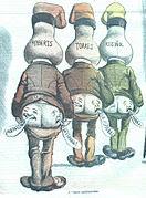 Caricatura de la revista Don Quijote en la que se satiriza las posiciones políticas de Roberts, Torres y Rusiñol. Véase la forma del cráneo, satirizando el «cráneo catalán».
