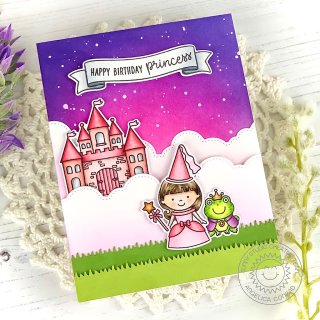 Sunny Studio Stamps: Enchanted Comic Strip Everyday Dies Fluffy Clouds Princess Themed Card by Angelica Conrad