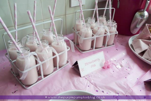 Mini Milk Bottles for a Baby Shower at The Purple Pumpkin Blog