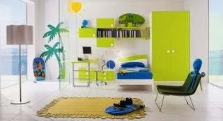 Dormitorio juvenil azul verde
