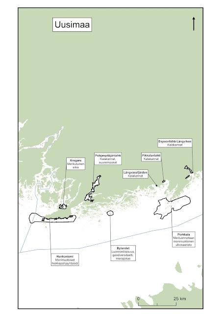 Kartta, johon on piirretty läntisen Suomenlahden EMMA-alueet
