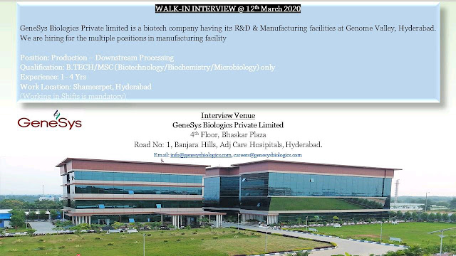 GeneSys Biologics Private Limited Walk in Interview 12 Mar 2020 for Production...