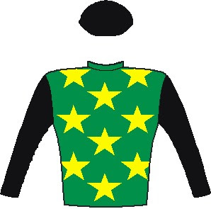 Edict of Nantes - Jockey Silks - Emerald green, yellow stars, black sleeves and cap - Horse Racing - South Africa - Durban July