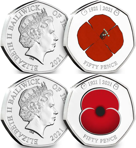 Jersey 50 pence 2021 - 100 years of the Royal British Legion