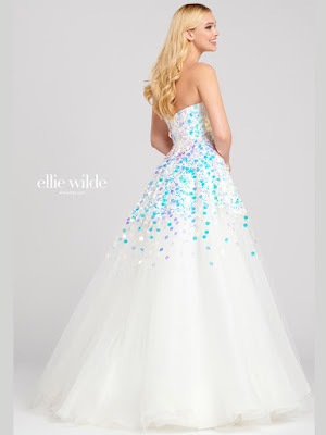 Ellie Wilde Ball gown ivory color Prom dress back side