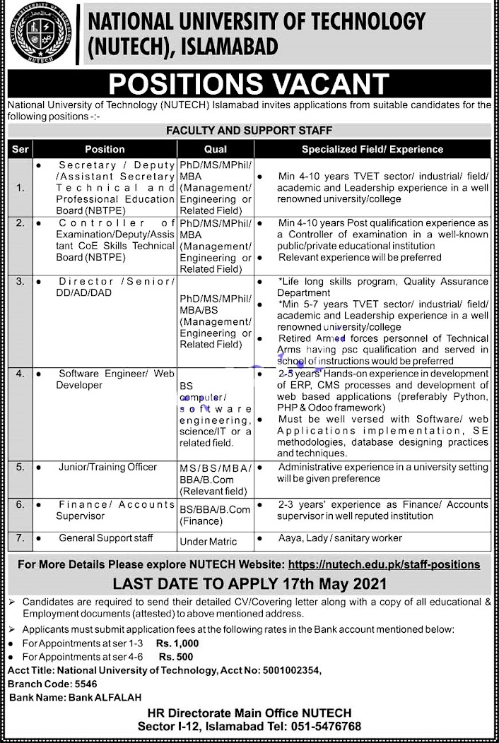 Latest Jobs in National University of Technology  NUTECH 2021