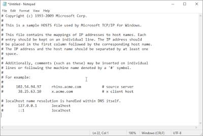 reset hosts di windows 7