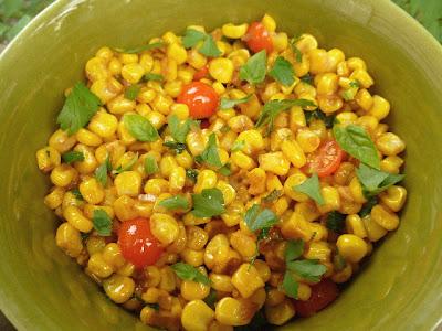 Stir Fried Corn w/ Chile, Ginger, Garlic