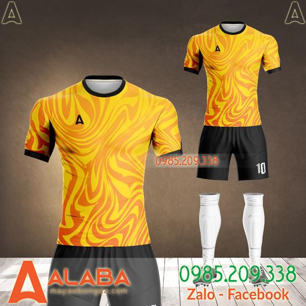 áo bóng đá không logo màu vàng đẹp