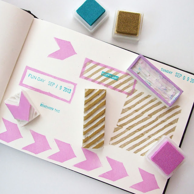 Make your own custom stamps using erasers