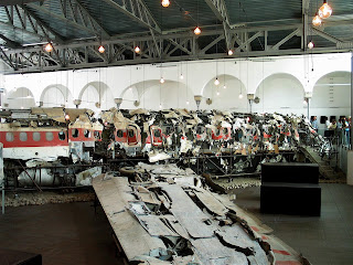The remains were moved from Rome to Bologna and put on display at a museum in a large hangar