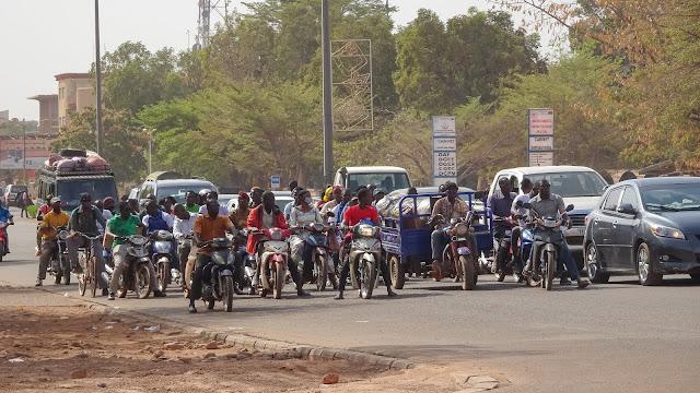 Main road in Ouagadougou in front of Police Headquarter