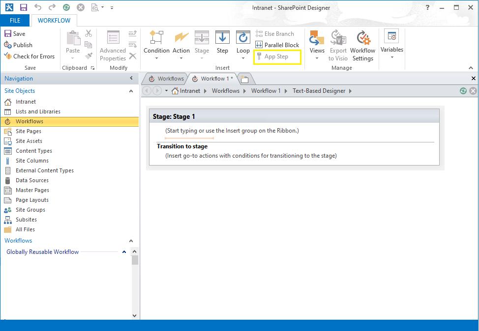 App Step disabled in SharePoint Designer Workflow