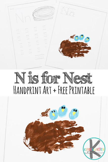 FREE Letter N Worksheets & N is for nest Hand Art craft for kids in preschool, prek, kindergarten, and first grade #alphabet #kindergarten #craftsforkids