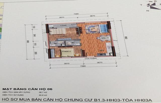 Sơ đồ thiết kế căn hộ 06 chung cư B1.3 HH03A Thanh Hà Cienco 5