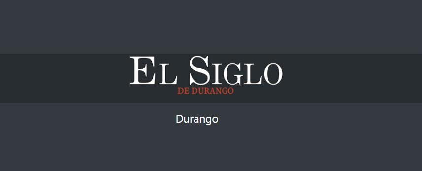 Fondo negro con texto en Blanco el Siglo de Durango