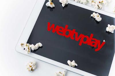 Tablet com a logo webtvplay e pipoca, estilo Netflix