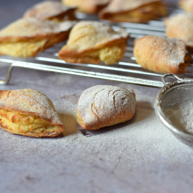 Homemade Sfogliatelle, also known as Lobster Tails.