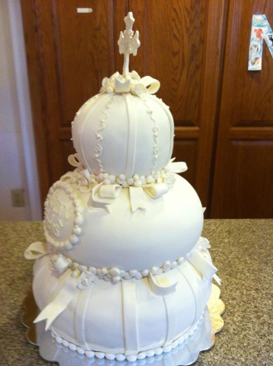 Katrina S Custom Cakes Elegant Christening Cake