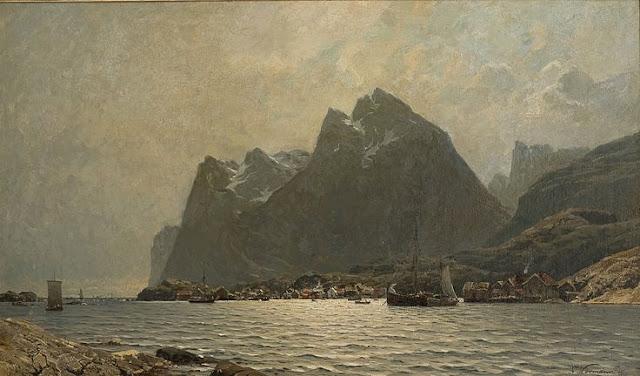 Adelsteen Normann (1848_1918) Les îles Lofoten port de pêche