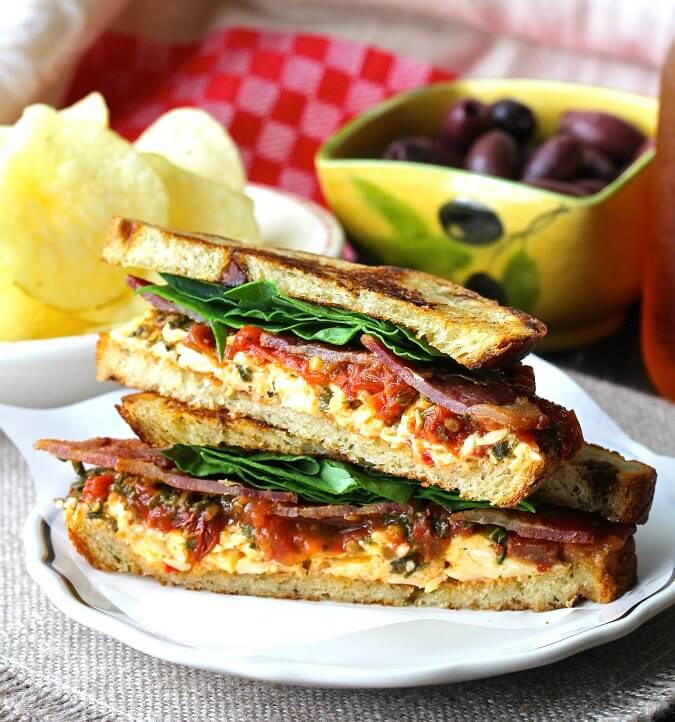 BLT Sandwich with Roasted Pimento Cheese and Tomato Marmalade #grilledcheese #pimentocheese