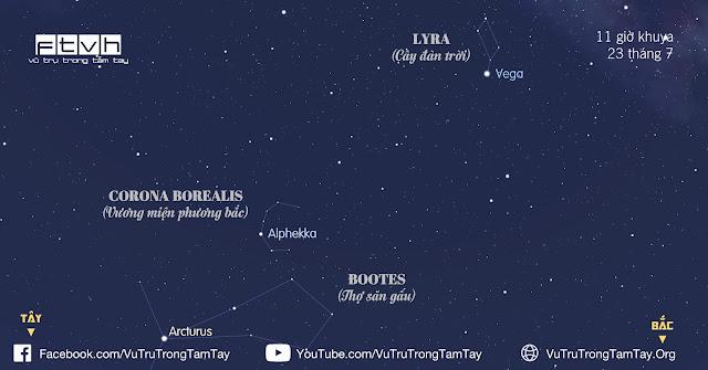 #BầuTrờiĐêmNay 23/7/2016. Quan sát chòm sao Corona Borealis.