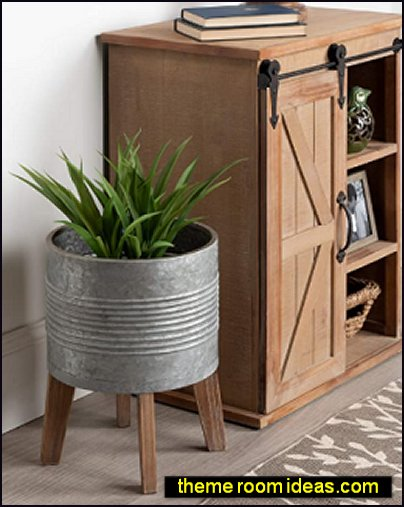 Farmhouse Galvanized Metal Planter with Rustic Wood Stand