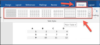 Klik salah satu opsi dari bagian Table Styles