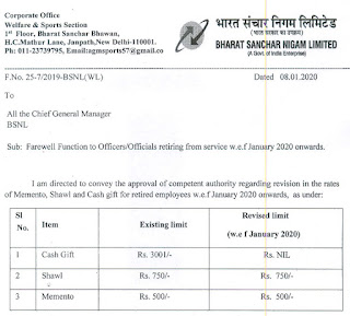 BSNL Latest News 2020 - Rates of Memento, Shawl and Cash gift for retired BSNL employees