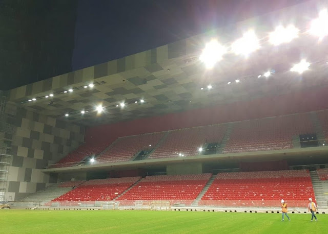 Lights switched on in the Tirana stadium of National Arena, wonderful views