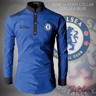 Jual Baju Koko Muslim Pria Bola Collar Chelsea Blue