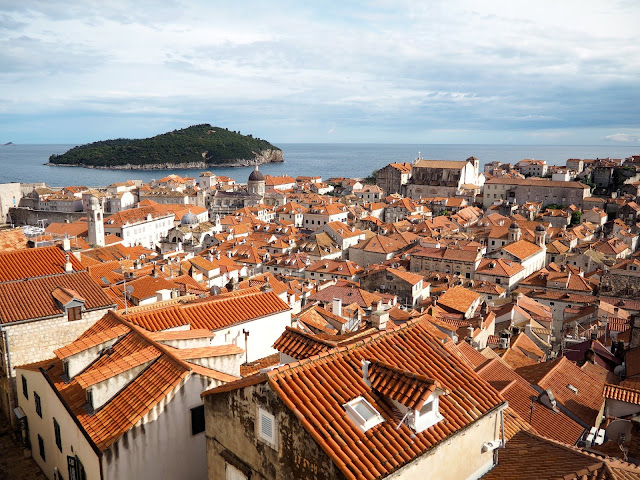 Old Town & Lokrum from City Walls, Dubrovnik, Croatia