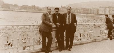 Los ajedrecistas Àngel Ribera, Miquel Albareda y Agustí Catalán