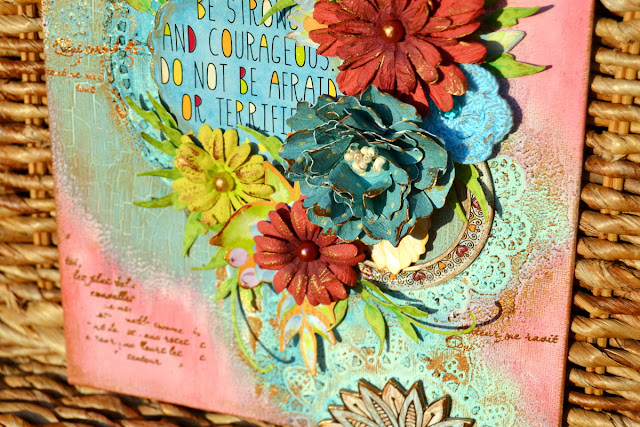 Mixed Media Canvas by Denise van Deventer using the BoBunny Faith Collection and Pentart Products