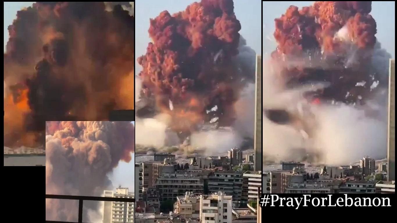 video letupan besar di beirut lubnan #prayforlebanon